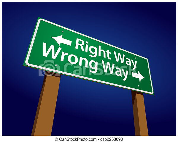 Right Way, Wrong Way Green Road Sign Illustration - csp2253090