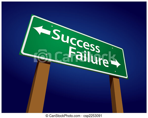 Success, Failure Green Road Sign Illustration - csp2253091