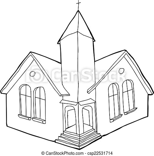 Outlined Christian Church - csp22531714