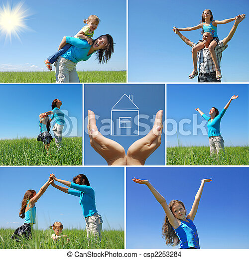 happy family outdoor in summer - collage - csp2253284