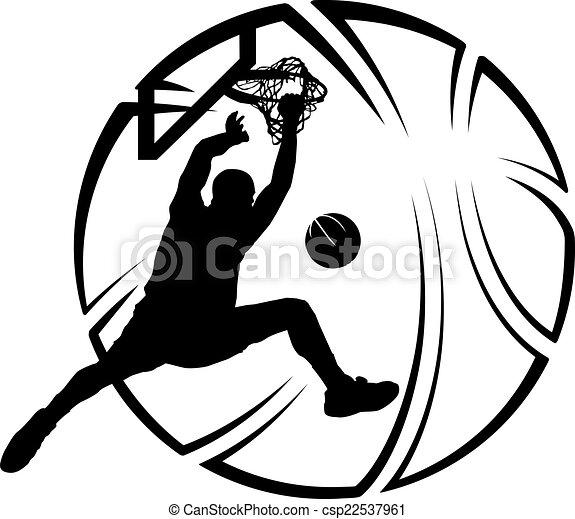 Basketball Dunk with Stylized Ball - csp22537961