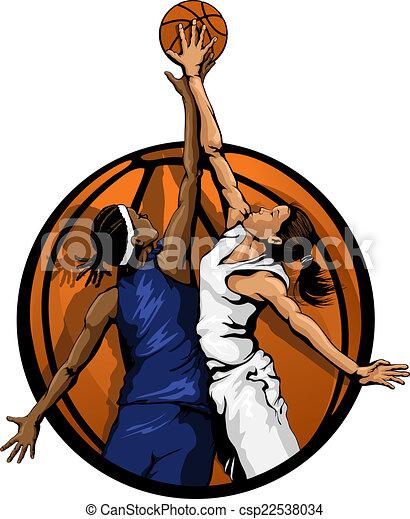 Women Basketball Jump Ball color - csp22538034