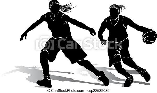 Silhouette of Girl Basketball Players - csp22538039
