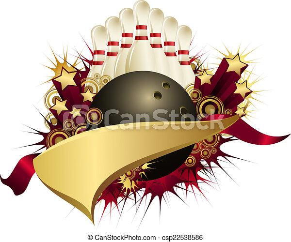 Golden Red Starburst Bowling Pennant - csp22538586