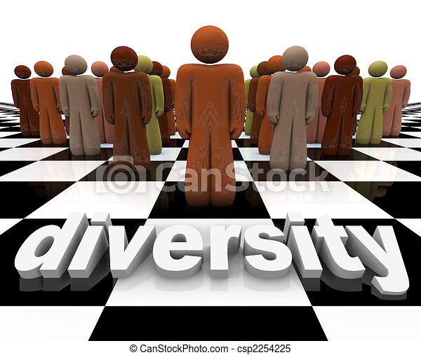 Diversity - Word and People on Chessboard - csp2254225