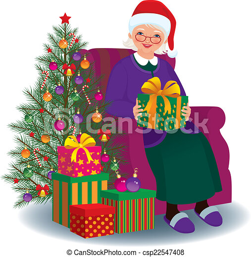 clipart vecteur de gran cadeau bien aim no l personnes ag es femme csp22547408. Black Bedroom Furniture Sets. Home Design Ideas