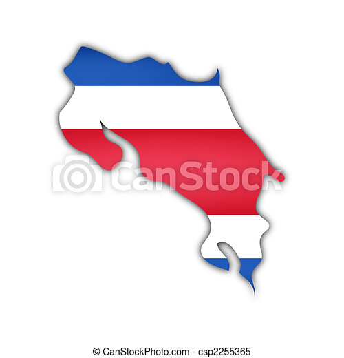 map and flag of costa rica - csp2255365