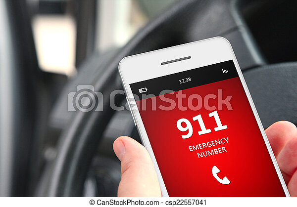 hand holding cellphone with emergency number 911 - csp22557041