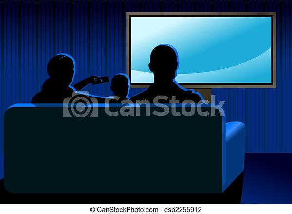 clip art de tv famille regarder famille regarder tv dans les csp2255912 recherchez. Black Bedroom Furniture Sets. Home Design Ideas