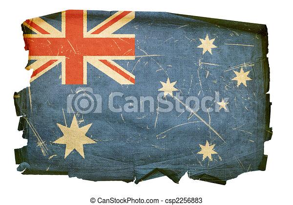 Australia Flag old, isolated on white background. - csp2256883