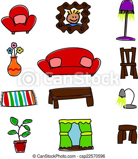 Vecteurs eps de mignon ameublement maison cartoon for Ameublement maison