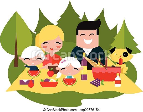Family picnic outdoors - csp22576154