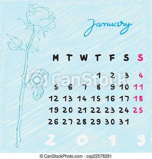 Stock Illustration of january 2015 flowers - Calendar 2015, graphic ...