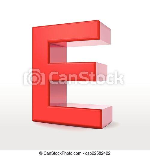 e Letter Logo 3d 3d Red Letter e Csp22582422