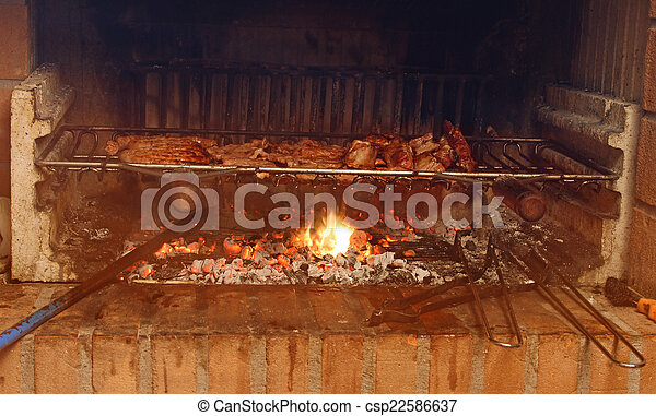 Stock Photos of smoky fireplace with lots of grilled meat in the ...