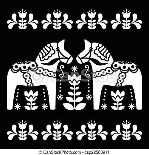 Schwedische traditionelle muster  Vektor Clip Art von schwedische , pferd, dala, oder, daleclarian ...