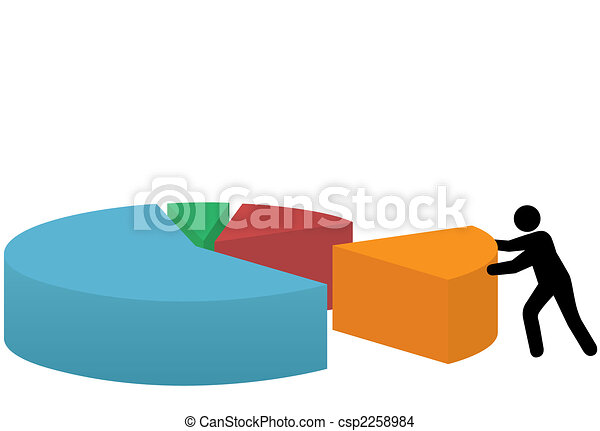 usiness person last piece of market share pie chart - csp2258984