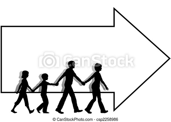 =Family mom dad kids walk to follow arrow copyspace - csp2258986