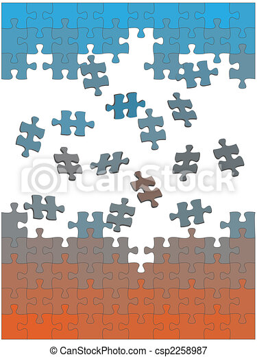 Jigsaw puzzle pieces fall fly together as easy solution - csp2258987