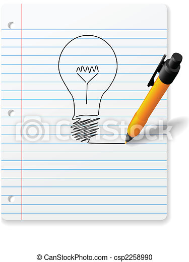 Yellow ball point pen drawing bright idea light bulb - csp2258990