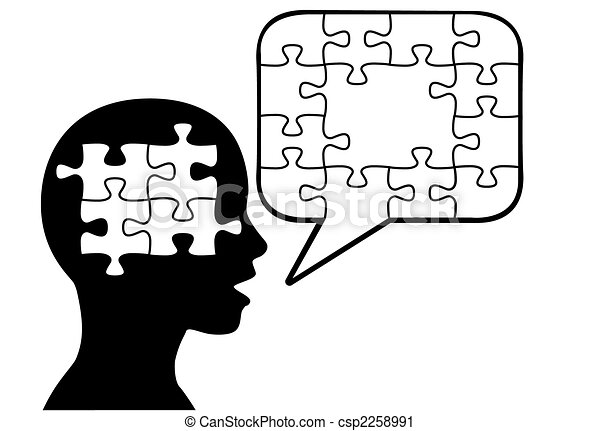 Puzzled person silhouette talks in puzzle pieces speech bubble - csp2258991
