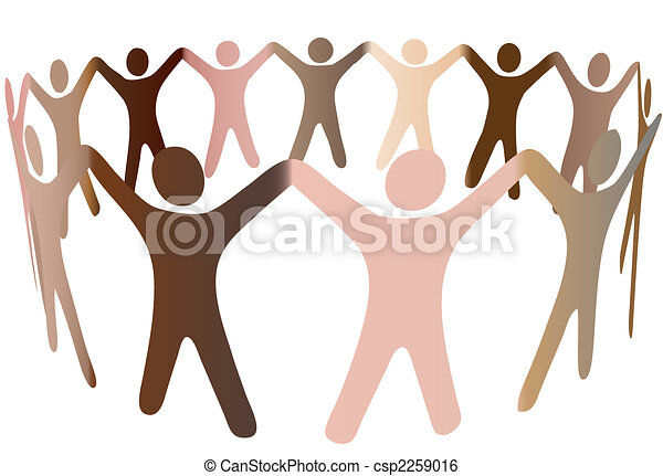 Human skin tones blend in ring of diverse people - csp2259016