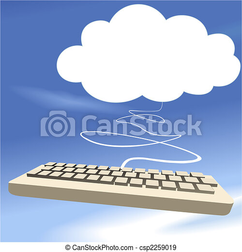 Cloud computing keyboard on blue sky background - csp2259019