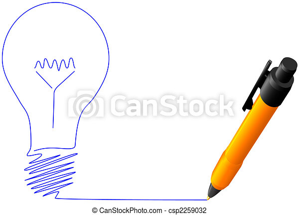 Yellow ball point pen drawing bright idea light bulb - csp2259032