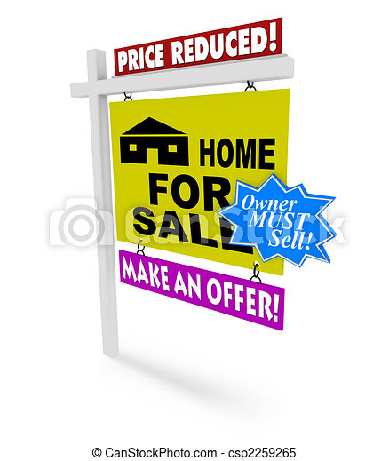 Price Reduced - Home for Sale Sign - csp2259265