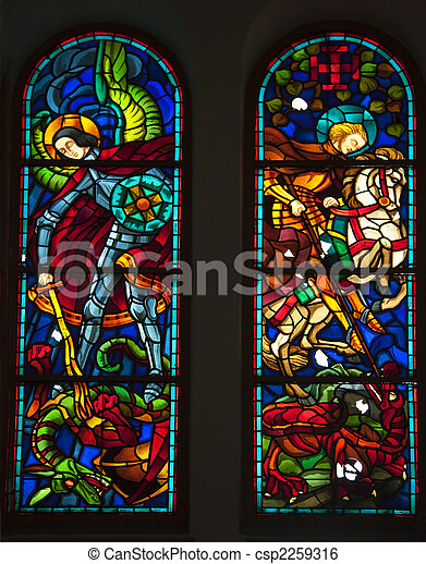 Knights and Dragons Stained Glass, Notre Dame Cathedral, Nha Tho Duc Ba, built in 1883 largest cathedral in French Empire Saigon Ho Chi Minh City Vietnam - csp2259316