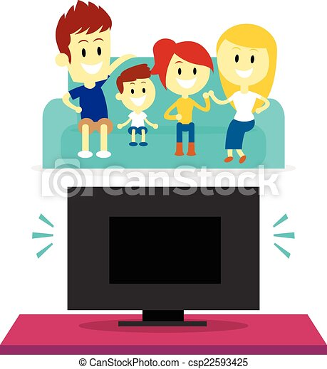 Family Watching tv Together Drawing Family Watching tv Together