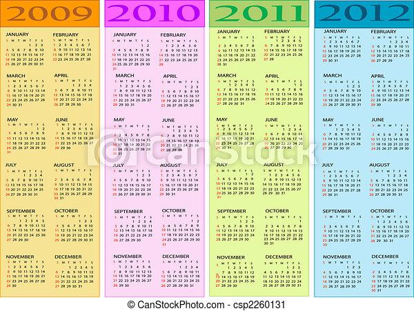 Clipart of Calendar, New Year 2009, 2010, 2011, 2012 csp2260131 ...