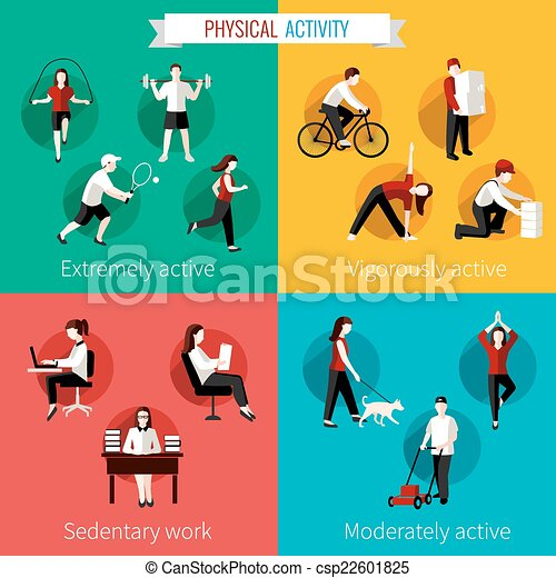 Vector Illustration Of Physical Activity Flat Set Of