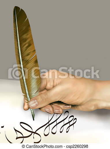 Handwriting with a feather quill - csp2260298