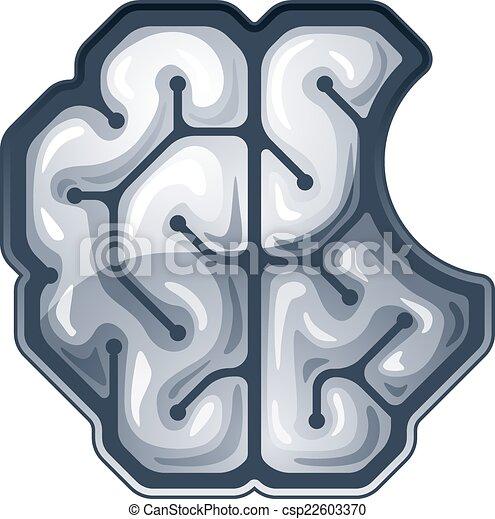 Brain Drawing Top View Vector Bitten Brain Top View