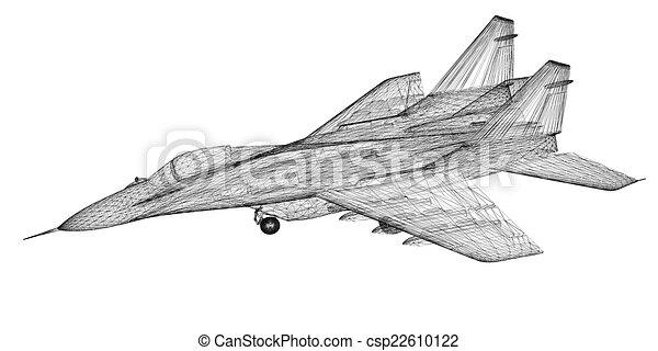 Clip Art of Fighter Plane model, body structure, wire model ...