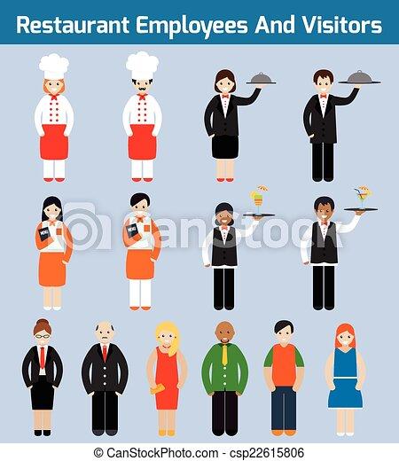 Vector Clipart Of Restaurant Employees Flat