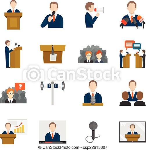 Vector Clip Art de público, Oratoria, iconos, Conjunto ...