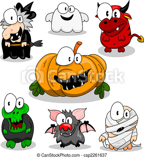 Collection of halloween creatures - csp2261637