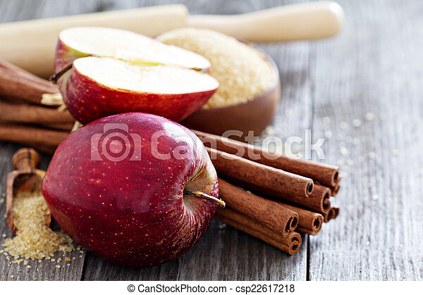 Baking a pie - apples, sugar and cinnamon