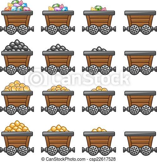 Vector Illustration of Mine cart set gold sone coins diamonds - Mine tub cart set ...