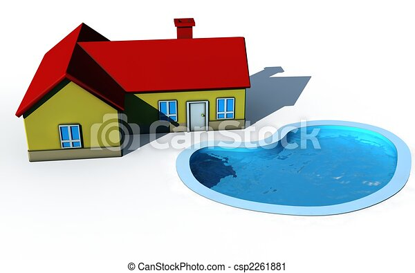 Clipart of isolated house with swimming pool 3d render for Swimming pool drawing