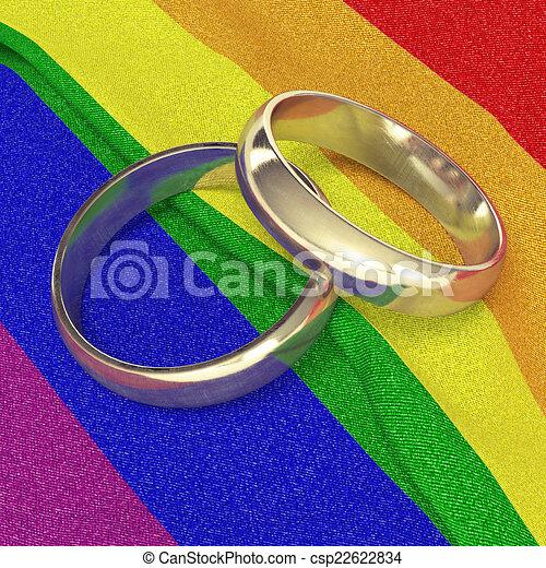 stock illustration wedding rings on rainbow banner - Rainbow Wedding Rings