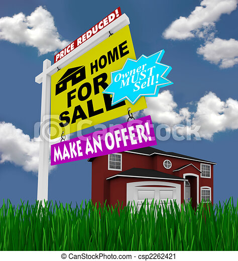 Home for Sale Sign - Desperate to Sell House - csp2262421