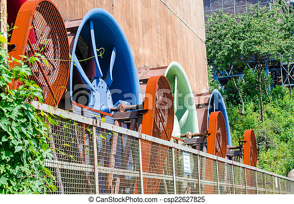 Industrial building, cooling tower, rotor, ventilator, Air Condio