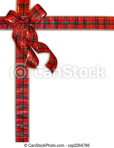 Christmas Present Plaid Bow Background - csp2264766