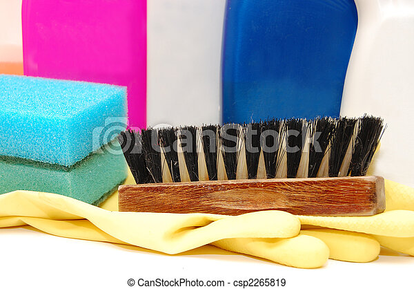 close up of hygiene cleaners for housework - csp2265819