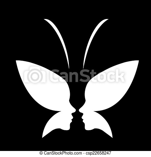 EPS Vector of Face of a lady and butterfly- logo - Face of a lady ...