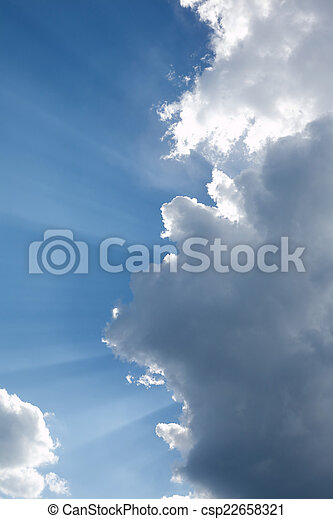 Landscape with sun rays
