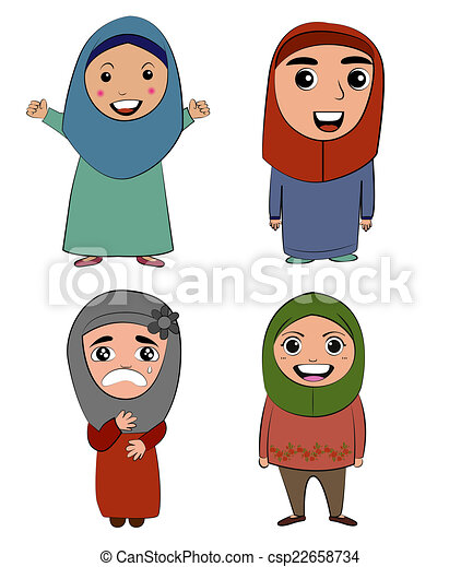 drawings of muslim cartoon girl vector action csp22658734